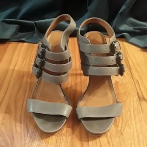 Grey Leather Sandals with buckles at the ankle